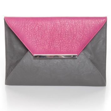 Grey Clutch - Envelope Clutch - Grey Purse - $37.00