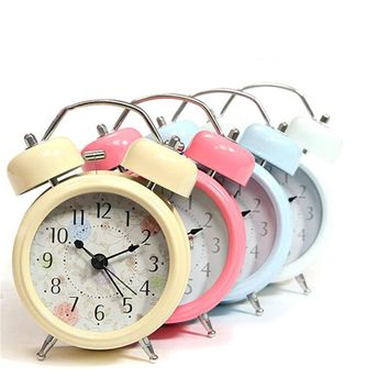 New Fashion Interior Metal Double Twin Bell Silent No ticking Metal Desk Table Alarm Clock  Home Decor 4 Colors