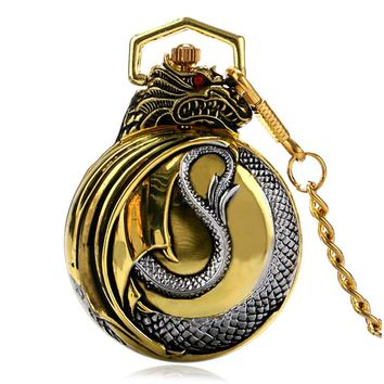 Luxury Retro Evil Dragon Theme Quartz Pocket Watch Men Women Unisex Gold Case Chain Red Garnet Inset New Arrived Gift P934C