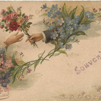 Beautiful Forget-Me-Nots, Violets, Roses, Flower Bouquet Artist E. Guillot Vintage French Postcard Early 1900's Souvenir