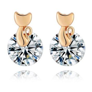 Small Cat Ear Studs    gold plated white zircon