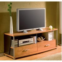 60-Inch TV Stand with 2 Storage Drawers in Honeydew Finish