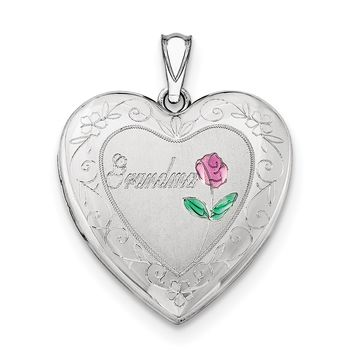 Sterling Silver Rhodium-plated 24mm Enameled & D/C Grandma Heart Locket QLS410