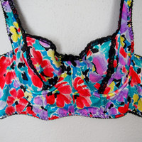 Tropical Print Unlined Bra, Vintage Lingerie, Made in Costa Rica, 34B