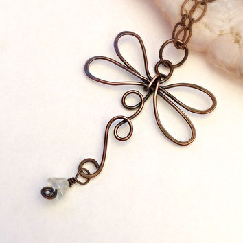 Copper Dragonfly Necklace - Dragonfly jewelry - Earthy Necklace