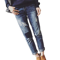 Urban Stitched, Patch, Ripped Maternity Jeans with Belly Panel