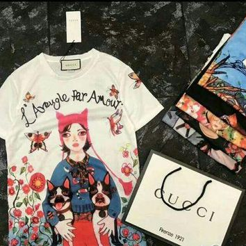 DCCKHNW 2018 Gucci Girl and dog T-shirt