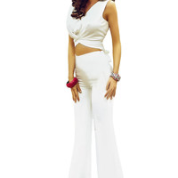White Tie Knot Crop Top Flare Pants 2pcs Set