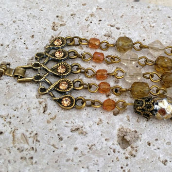 Vintage Bronze Tone Green, Amber and Clear Bead Filigree Link Bracelet - Boho Chic / Mother's Day / Gift / Graduation / Victorian / Art Deco