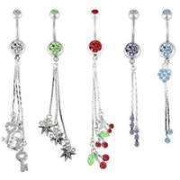 BodyJ4You Belly Button Rings Heart Lot of 5 Pieces Dangle Set Piercing Jewelry Set