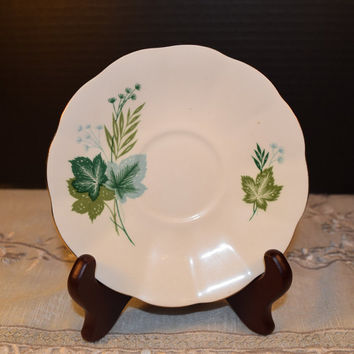 Mid Century Elizabethan Taylor & Kent Saucer Fine Bone China Made in England Green Leaf and Fern Discontinued China Replacement Wedding