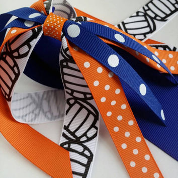 Blue and orange volleyball hair streamers, ponytail holder ribbon, netball ribbon hair tie, school team spirit, volleyball player gift
