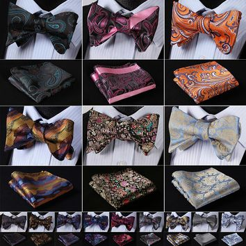 Floral 100% Silk Jacquard Woven Men Butterfly  Bow Tie set with Pocket Square