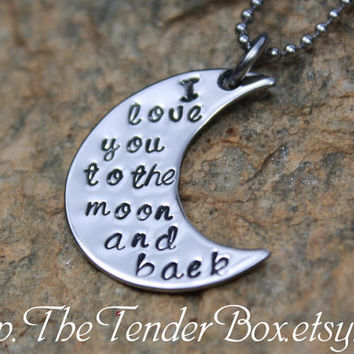 personalized necklace I love you to the moon and by TheTenderBox