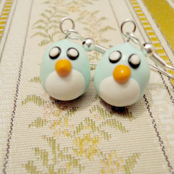 Bird earrings mint green size small handmade from by NellinShoppi