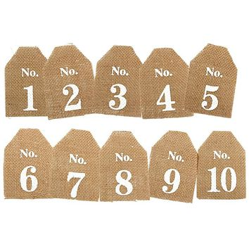 Vintage 10pcs Wedding Hessian Jute Burlap Table Numbers Cards Banner Form 1-10 Vintage Birthday Holiday Party Decor Signs
