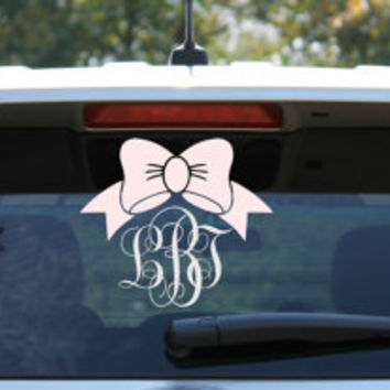 Bow and Monogram Car Decal