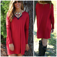 Time Well Wasted Burgundy Long Sleeve Dress