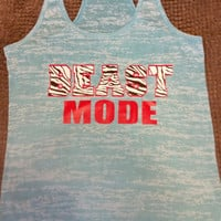 Zebra Print Beast Mode Burn Out Fitness Tank Top. Burn Out Gym Shirt. Fitness Tank Top. Woman's Work Out Clothing. Racer back Tank this l