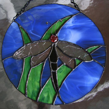 Dragonfly Stained Glass Sun Catcher ~ Home Decor ~ Garden Ornament ~ Dragonfly Suncatcher