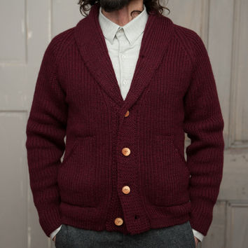The Central Cardigan   Maroon Wool