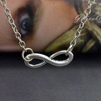 Infinity Necklace - antique silver infinity symbol eternity love friendship necklace science math sign mathematic geek chic jewelry NIN01S