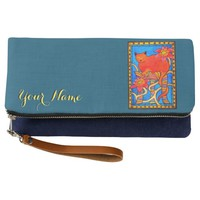 Sleeping Beauty Cat with Your Name and Flowers Clutch