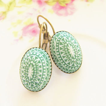 Emerald Green Mosaic Earrings -Vintage Emerald City and White Mosaic Bohemian Antique Brass Earring Drop Dangles