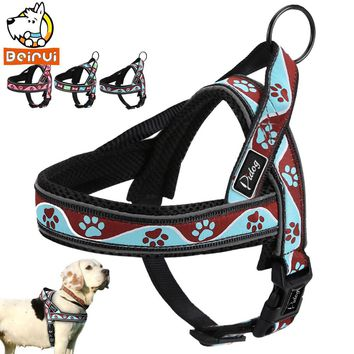 Reflective Dog Harness Adjustable Outdoor Training Dogs Harnesses with Handle Quick Fit For Medium Large Pets Cats Pitbull