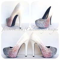 White Silver Ombre Glitter High Heels, Pink White Silver Wedding Shoes