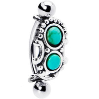 Silver 925 Top Down Southwest Green Turquoise Eyebrow Ring   Body Candy Body Jewelry