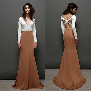 Mermaid  Prom Dresses Deep V-Neck Long Sleeves Criss Cross Straps Empire Beaded Fitted Sweep Train