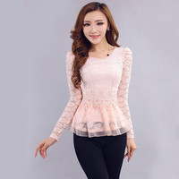 lace splicing Eugen womens tops slim Chiffon long sleeve women shirts lace blouses M L XL XXL Dropship YS1907CY