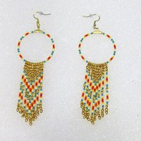 eBlueJay: Unique Native American Inspired Beaded Hoop Earrings With Beaded Gold Tone Chains