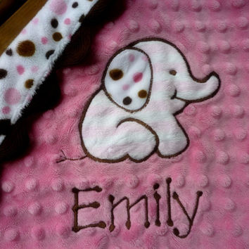 Lil Lovey personalized baby blanket-  Hot pink and brown elephant with polka dots- elephant lovey blanket