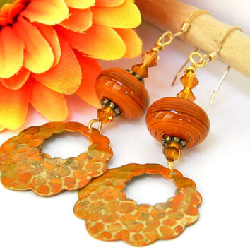 Orange Dangle Earrings Handcrafted Lampwork Crystal Gold Short