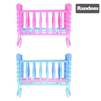 Mini Dolls House Kids Toy Darling Doll Furniture for American Girl Rocking Cradle Bed for Doll Accessories Toys For Children