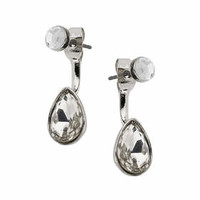 Drop Stone Front And Back Earrings - Clear