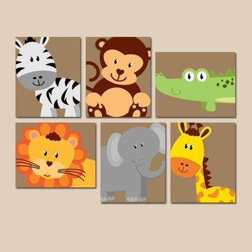 SAFARI Animal Wall Art, Animal Nursery Decor, Zoo Jungle Theme, Baby Boy Nursery Decor, Boy Bedroom Pictures, CANVAS or Prints Set of 6