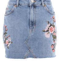 MOTO Denim Floral Skirt | Topshop