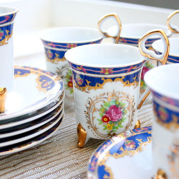 Tiger Yedi Inc Set Of 12 Demitasse Cups And Saucers Made In Japan / Tea Set / Demitasse Set / Coffee Set