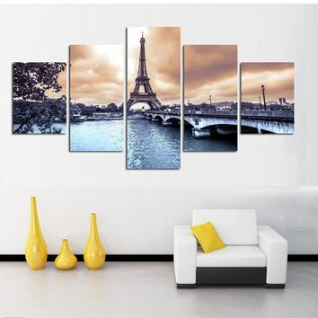 Canvas Wall Art: The Eiffel Tower of Paris on the Seine River