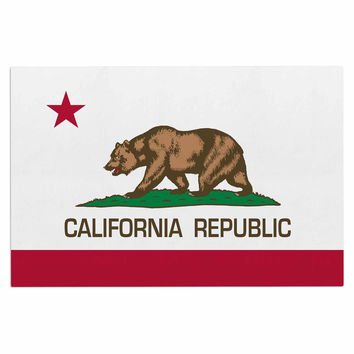 "Bruce Stanfield ""California State Flag"" Red White Decorative Door Mat"