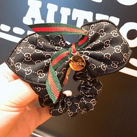 GUCCI tide brand wild female models red and green striped ribbon bow hair ring Black