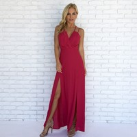 Cherry Red Romper Maxi Dress