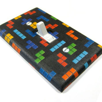 Light Switch Cover Rainbow Tetris Blocks on Black Gamer Decor Geek Gift