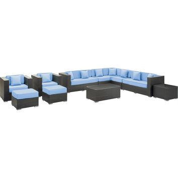 Modern Patio Furniture Cohesion 11 Pc Sectional Set Espresso Light Blue Cushions