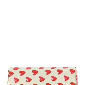 Designer heart single zip around wallet