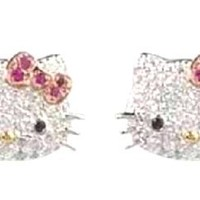 Adorable Silver Plated Crystal CZ Stud Kitty Celebrity Teen Earrings With Pink Bow
