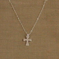 Cross Necklace, Silver Cross Necklace, Small Silver Cross, Tiny Cross, Flared Cross, Thin Silver Chain, Wedding Jewelry